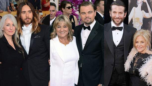 Sons and Mothers: Jared Leto, Leo Di Caprio and Bradley Cooper all poses with their respective mothers at this year's Oscars