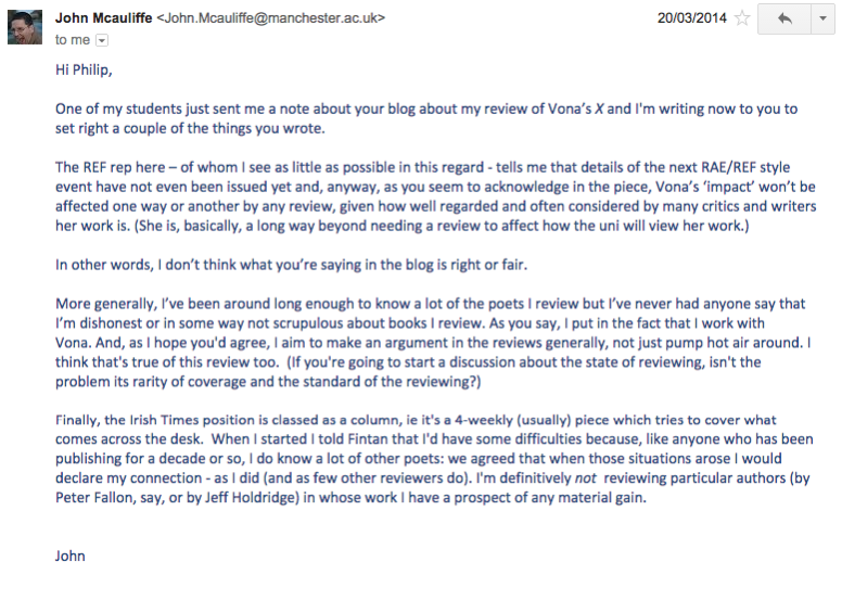 An email from John McAuliffe, sent from his university email account, in response to my article.