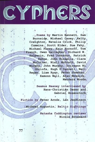 Cyphers 77: New poems by yours truly appear in the latest issue of Cyphers
