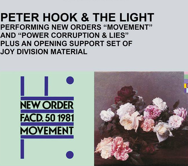 Peter Hook & The Light have been performing New Order albums Movement and Power, Corruption and Lies, in full. Image: Facebook