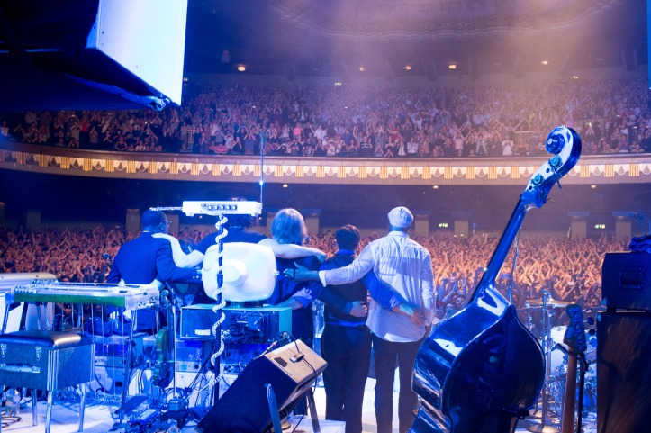 Jack White and his band bid the audience good night after a triumphant show at London's Hammersmith Apollo.
