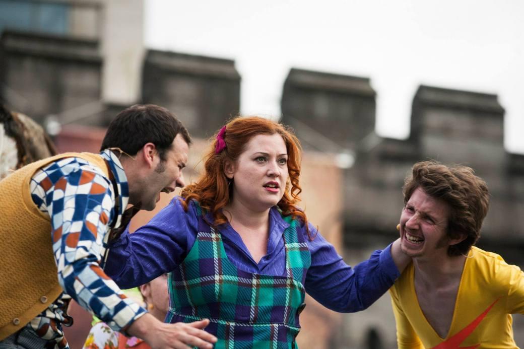 Left to Right: Colm O'Brien (Demetrius), Melanie Phillips (Helena) and Matthew O'Brien (Lysander)