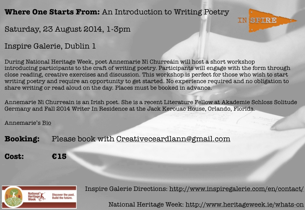 Poet Annemarie Ní Churreáin hosts a workshop as part of National Heritage Week in Dublin on 23rd August.